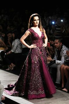 plum colored indo western gown for a desi wedding reception by Manav Gangwani 2015 #shaadibazaar #purple