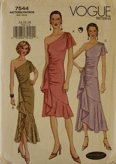 Dress One Shoulder Bias  2000's  Vogue Pattern by patterntreasury