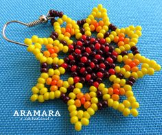 Mexican Huichol Beaded Yellow Flower Earrings by Aramara Beading Tutorials, Beading Patterns, Beading Ideas, Flower Earrings, Beaded Earrings, Huichol Art, Beard Jewelry, Mexican Jewelry, Baby Knitting Patterns