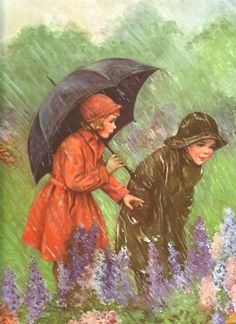 Vintage Lithograph Rainy Day Poster