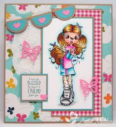 Sugar Nellie Butterfly Girl stamp - love the colors and layout of this card - bjl