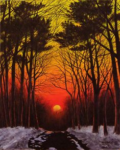 Painting of a sunset and trees with snow the grounds of a roadway.   ***** Referenced by 1 Dollar Website Hosting  (WHW1.com):  Best Business Hosting. Affordable, Reliable, Fast, Easy, Advanced, and Complete.©  FREE Sites. Ask.