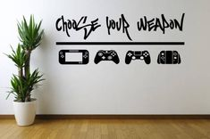 gamer room Choose Your Weapon Game Vinyl Wall Decal Sticker, Wall Decal, Wall Art, Wall Sticker, Gamer Home Decor game room decor bedroom decorPlease note the sizes and pick the one you wan Game Room Decor, Room Setup, Wall Decor, Boys Game Room, Kids Room, Wall Decal Sticker, Wall Stickers, Rooms Home Decor, Bedroom Decor