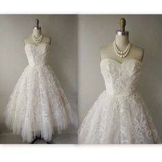 50's Wedding Dress // Vintage 1950's White by TheVintageStudio, $264.00