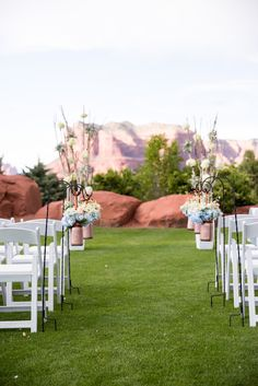 Copper and blue are great options for highlighting the stunning red rock back drop of your Sedona wedding.