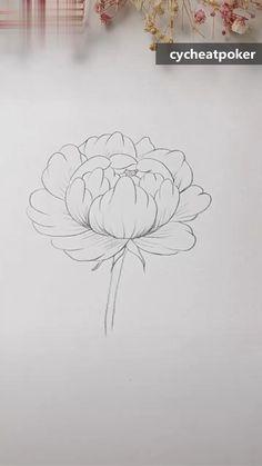 Easy Flower Drawings, Flower Drawing Tutorials, Art Drawings Sketches Simple, Pencil Art Drawings, Drawings Of Flowers, Roses Drawing Tutorial, Plant Sketches, Doodle Flowers, Art Flowers