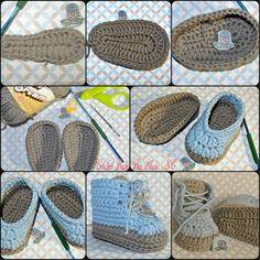Crochet Baby Boy Shoes Made By Me.....Zapatito de Bebe a Crochet hecho por Mi