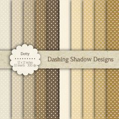 """Digital Paper Pack - Dotty in Brown Shades - 12 x 12"""" Digital Scrapbook Paper #scrapbooking #scrapbook #paper #digiscrap #supplies #pages #dots #polkadots #spots #brown #neutral"""