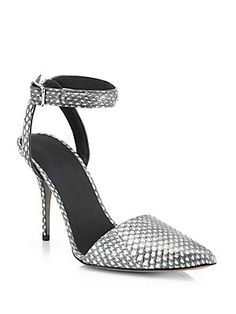 Alexander Wang Lovisa Snake-Embossed Leather Point-Toe Pumps<br>