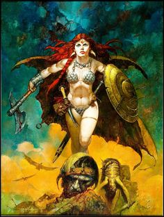 Red Sonja by Sanjulian (Manuel Perez Clemente)You can find Red sonja and more on our website.Red Sonja by Sanjulian (Manuel Perez Clemente) Fantasy Women, Dark Fantasy Art, Fantasy Artwork, Comic Books Art, Comic Art, Conan The Barbarian, Sword And Sorcery, Red Sonja, Warrior Girl