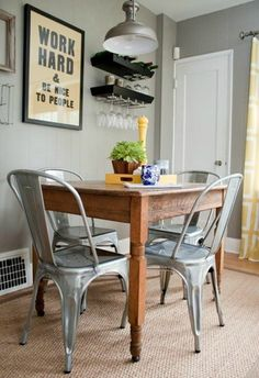 Tolix chairs for a breakfast nook
