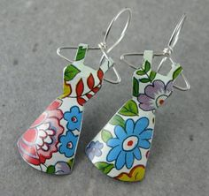 Recycled Vintage Tin Mini Dress Earrings No. 51 Tea by shixie