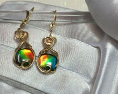 AMMOLITE Earrings Triplett - Crystal Top -14k Solid Yellow Gold (1210K2-1)