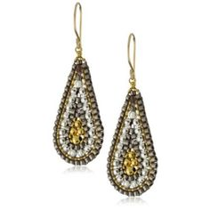 Miguel Ases Sterling Silver and 14k Gold Filled Cluster Drop Earrings - designer shoes, handbags, jewelry, watches, and fashion accessories | endless.com