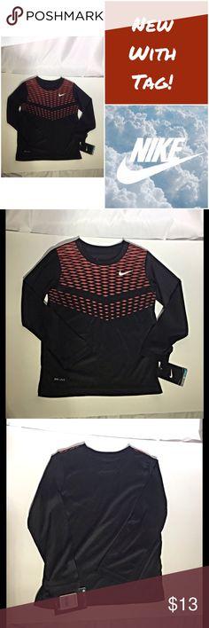 NWT Nike long sleeve dri-fit t-shirt New with tag! Size 5. Long sleeve black t-shirt with a burgundy diamond pattern. Dri-fit. 100% polyester. Nike Shirts & Tops Tees - Long Sleeve