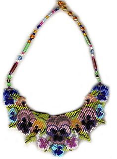 Pansies Beaded Necklace2