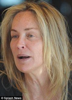 Sharon Stone at Age 54 - No Make up.  Click Photo to see all 11 Photos