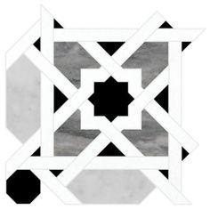 "Ann Sacks Mosaic Dafina 9.375"" x 9.375"" pattern repeat in Carrara, Bardiglio, Nero Marquina, & Thassos Standard"