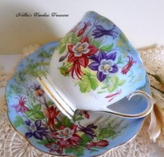Royal Albert Columbine Vintage Fine Bone China Tea Cup and Saucer by NelliesTimelessTreas.etsy.com