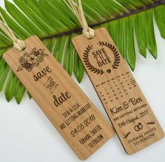 Wooden Engraved Save The Date Laser-Cut Bookmark