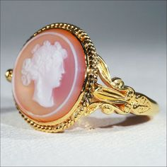 ruby lane antiques | Ruby Lane Antique Hard Stone Cameo Ring, Conversion in 14k & 18k Gold