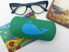 52a6554db58 eyeglass cases hard - box for glasses - glasses case hard - Hand-painted -  spectacle case - sunglass cases whale