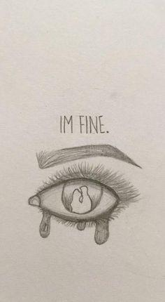 I'm fine 😢 - New Ideas - kunst skizzen - Sad Drawings, Dark Art Drawings, Art Drawings Sketches Simple, Pencil Art Drawings, Art Drawings Beautiful, Sketches Of Women, Cute Love Drawings, Pencil Sketching, Realistic Drawings