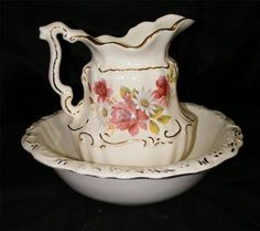 pictures of antique pitcher and bowls - Google Search