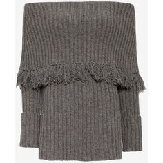 Exclusive for Intermix for Intermix Ribbed Off The Shoulder Fringe Top ($365) ❤ liked on Polyvore featuring tops, sweaters, charcoal, charcoal sweater, long sleeve tops, rib sweater, ribbed sweater and chunky sweater