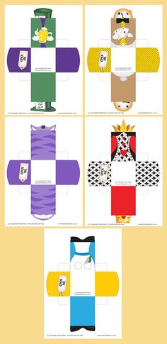 Printable Templates Alice in Wonderland Character Boxes