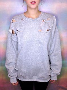 Diy Pullover, Diy Sweatshirt, Diy Shirt, Tumblr Sweatshirts, Cut Sweatshirts, Hoodies, T Shirt Women, T Shirts For Women, Ripped Shirts