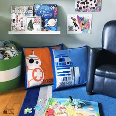 Create your own Star Wars pillows with the free felt applique patterns for droids R2D2 and BB8. Perfect pattern for floor pillows.