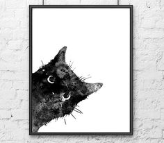 Cat print, cat nursery, cat art, black cat, pets print, kids art, children room decor, painting cat, black and white decor - B5