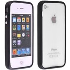 Black TPU Bumper Frame Trim Case Cover with Metal Buttons for iPhone 4 4G