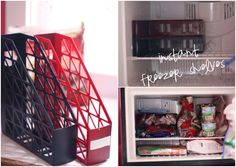 Use Magazine Holders as Shelves for More Freezer Space