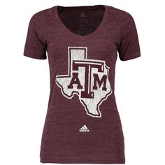 01efd4e4bea9d adidas Texas A M Aggies Women s Maroon Her Full Color Primary Tri-Blend  V-Neck T-Shirt