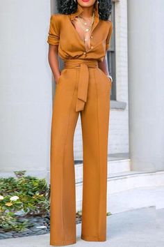 Sexy Turndown Collar Pure Colour Long Sleeve Jumpsuit – shegenie Source by formal Formal Jumpsuit, Jumpsuit Pattern, Jumpsuit With Sleeves, Collar Dress, Look Chic, Jumpsuits For Women, Fashion Jumpsuits, Classy Outfits, Look Fashion