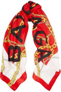 BALENCIAGA Printed silk-twill scarf. #balenciaga #scarves