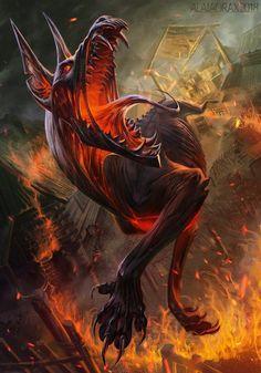 Hellhound - Gwent art contest by Alaiaorax on DeviantArt Dark Creatures, Weird Creatures, Fantasy Creatures, Mythical Creatures, Fantasy Kunst, Dark Fantasy Art, Dark Art, Arte Zombie, Beast Creature