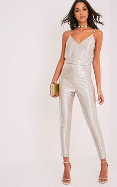 Maleena Gold Metallic Stretch Waist Jumpsuit | Jumpsuits | PrettyLittleThing