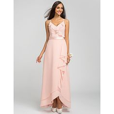Sheath/Column Spaghetti Straps Asymmetrical Chiffon Bridesmaid Dress (605503) – USD $ 89.69 in lilac