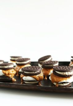 Peanut Butter S'mores Recipe -  can be made inside or out so no campfire or fire pit is needed!  The assembly is super simple, too. Just top half of your Oreos with a marshmallow, toast until golden brown, drizzle with salty peanut butter and smoosh down with your other Oreo.