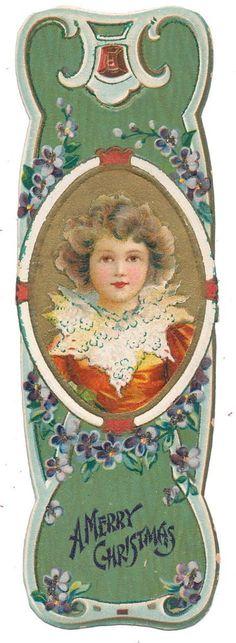 Ellen Clapsaddle Christmas Bookmark - Boy in Leaf Collar