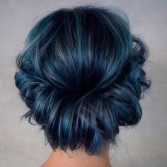 25 Alluring Dark Blue Hair Color Ideas - Mystery in Your Locks ❤ liked on Polyvore featuring hair