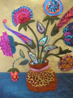 Sue Spargo wool and cotton applique