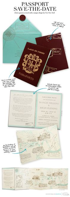 Passport Save-the-Date - Entice guests to travel with a unique design by Ceci New York