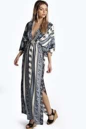 Mia Scarf Print Kimono Sleeve Maxi Dress