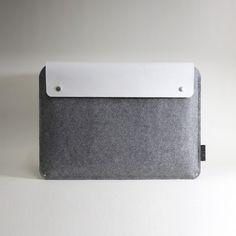 Macbook Pro Sleeve - White Leather with wool felt - charbonize Etsy