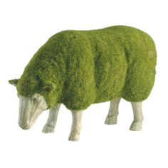 Moss Lamb. Using the technique of blending moss and spritzing a surface with it, you could give any statue a moss coat. Moss flocking: http://craftingagreenworld.com/2010/09/22/all-natural-graffiti-made-from-moss/