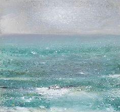 "bofransson: "" Kurt Jackson - A cormorant flies through a green sea, the high tide moves the cove """